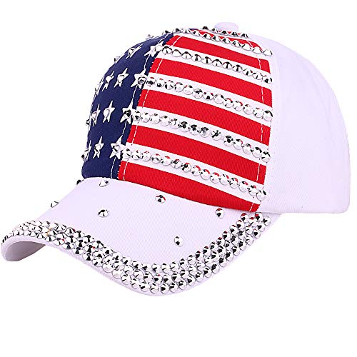 (CRUOXIBB Sparkle Rhinestone USA Patriotic American Flag Baseball Cap Hat for Men Women 4th July Summer Sun Cap White)