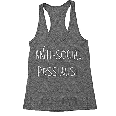 Expression Tees Anti-Social Pessimist Triblend Racerback Tank Top for Women