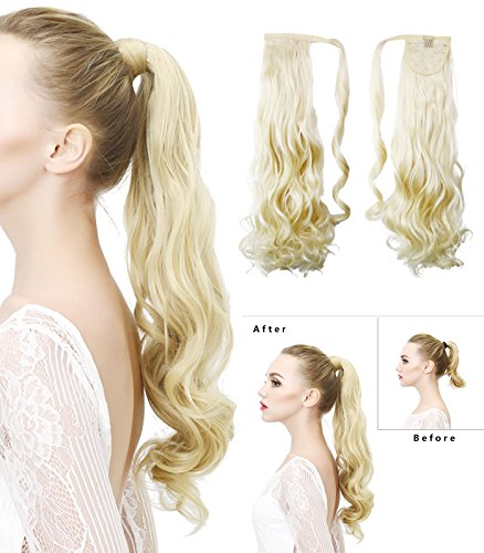 "Rhyme 20"" Blonde Ponytail Wrap Around Hair Extensions Natural Long Curly Wavy Wig Drawstring Tie Up Hair piece For Women"