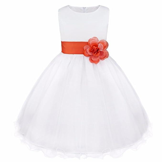 167e35da2 FEESHOW Cumpleaños Vestidos De Niña Flor Concurso Comunión Boda Princesa  Fiesta Naranja 5Años  Amazon.es  Ropa y accesorios