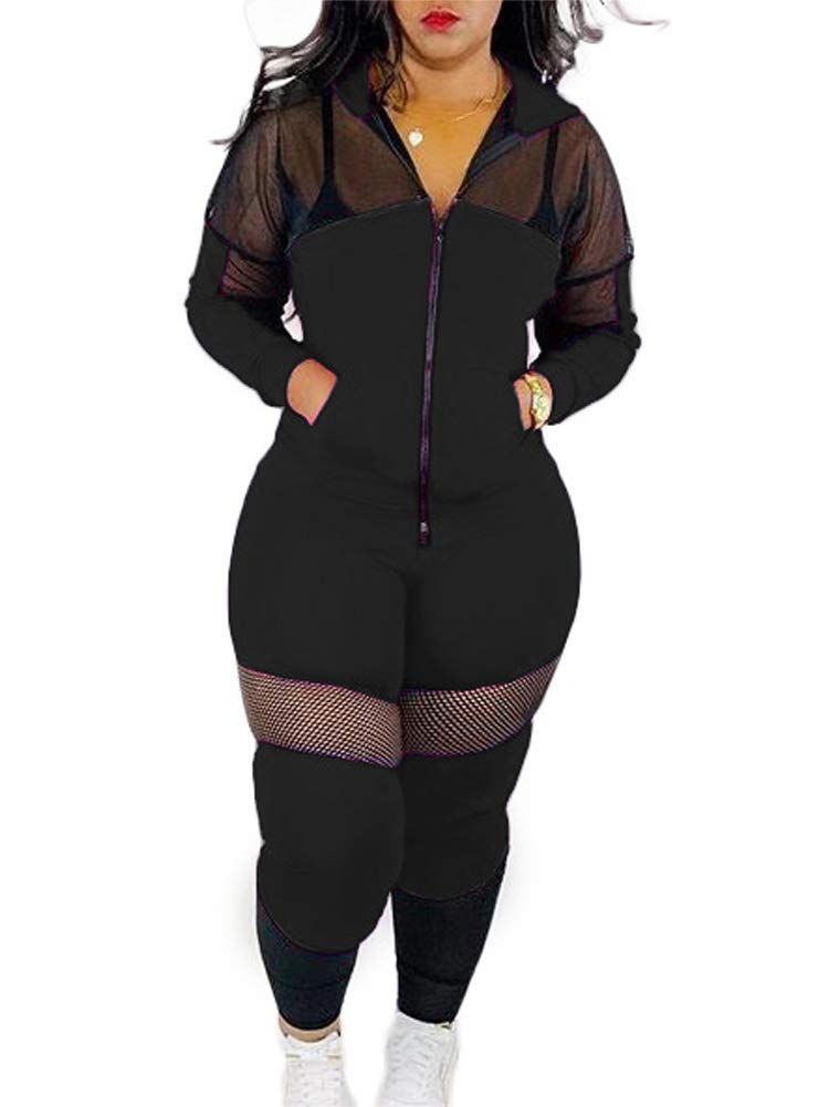 Women Bodycon Outfit Casual 2 Piece Sets Athletic Sports Tracksuit 2 Piece Hoodies Jacket Outfit Rompers Black XL by NVXIYYA
