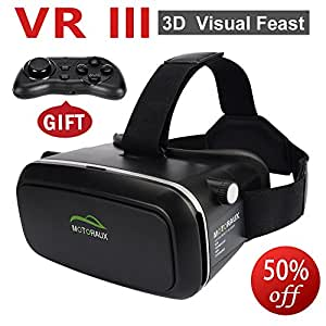 Motoraux ® 3D VR Virtual Reality Glasses Headset , Suitable for Google, iPhone, Samsung Note, LG, Huawei, HTC, Moto screen smartphone