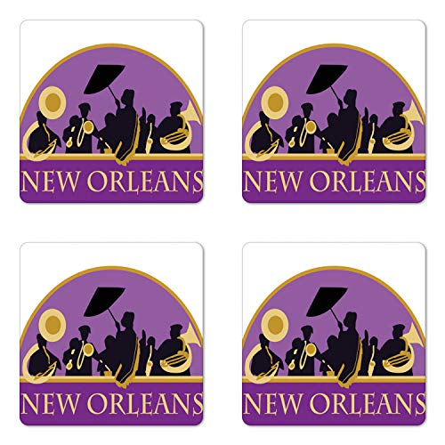 Ambesonne New Orleans Coaster Set of 4, French Quarter Band with Jazz Trumpet Saxophone and Brass, Square Hardboard Gloss Coasters for Drinks, Blue Violet Earth Yellow Black
