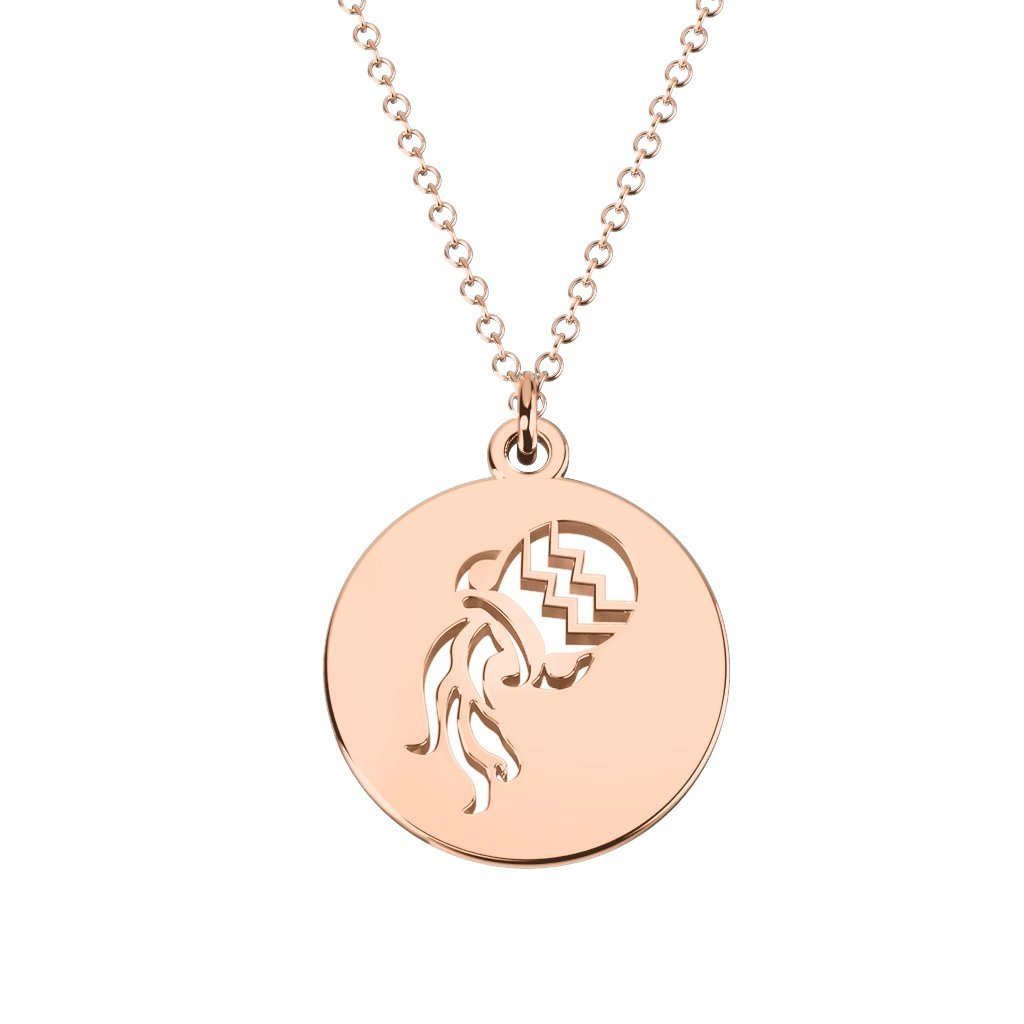 10K Gold Aquarius Zodiac Sign Cutout Disc Necklace by JEWLR