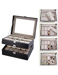 BeautyGal 20 Grids Watch Display Case PU Leather Jewelry Storage Box Organizer Watch Case