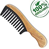 Wide Tooth Detangling Comb - pureGLO Anti-Static Wooden Horn Combs - Handmade Natural Comb for Thick, Curly and Wavy Hair – Reduce Hair Breakage and Split Ends