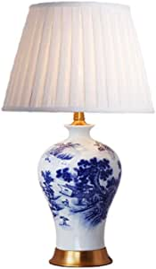 SLH Chinese Blue and White Porcelain Ceramic Table Lamp Luxury Atmosphere Villa Living Room Country Bedroom Desk Lamp Height 65cm