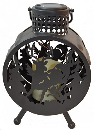 Deer LED Candle Lantern Lights Decorative - Metal Round Holder Tabletop Hanging Lantern Indoor Outdoor by Pine Ridge | Solar AA Rechargeable Battery | Flameless Home Decor | Halloween & Christmas