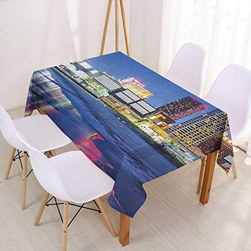 Wendell Joshua Waterproof Tablecloth City,Resort Casinos on Shore at Night Atlantic City New Jersey United States,Violet Blue Pink Yellow,HomeTablecovers for Rectangle Tables,Small 39