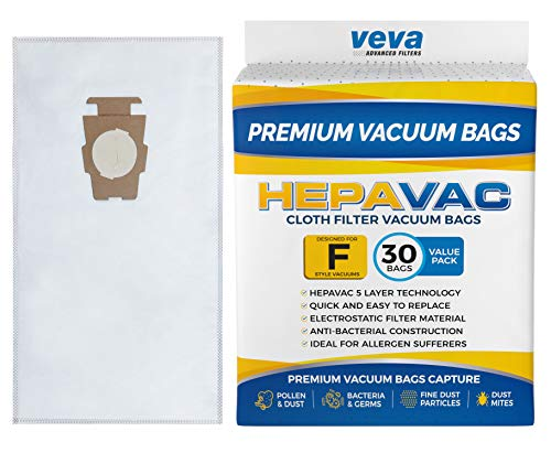 VEVA 30 Pack Premium HEPA Vacuum Bags Style F Cloth Bag for Kirby Replacement Type F, Q, 204808 204811 Avalir, Sentria I, II, G10D, Ultimate G, Diamond & Limited Edition; ()