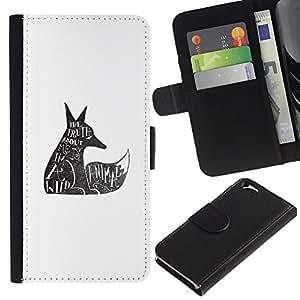 EJOY---La carpeta del tirón la caja de cuero de alta calidad de la PU Caso protector / Apple Iphone 6 / --Lobo salvaje Derechos de los Animales Cita Tatuaje