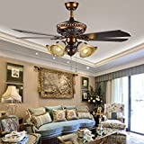 Akronfire 52 Inch Retro Ceiling Fan Oil Rubbed Finish Mute Fan Chandelier Remote Control for Living Room Dinning Room Black