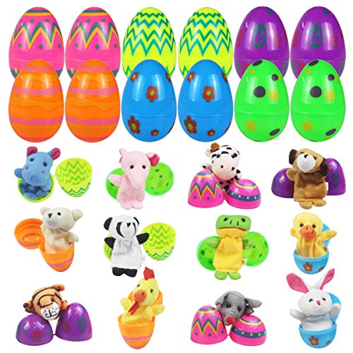 Mitcien 12 PCS Easter Eggs Filled with Toys Inside Finger Puppets for Kids Easter Basket Stuffers Surprise Plastic Eggs Toys Easter Hunt Game Party Favors