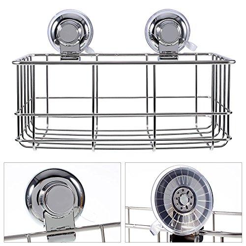 Dewenxi Tech® Edelstahl Wandablage für Bad oder Küche, Küchenablage Teleskopregal Badablage Ablagekorb Duschkorb Universalkorb Befestigen, ohne Loch zu bohren - 27,8 x 13 x 15,8cm(1)