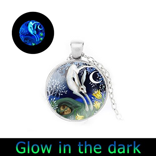 Glowlala@glow in the Dark Bunny Rabbit Necklace I Love You to the Moon and Back Locket Necklace Mothers Day Gift Keepsake Gifts for Mom Kids Children Women Her (silver) ()