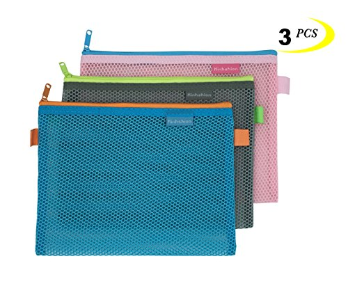 Kinhshion Zipper Pouch, Mesh Traveling Storage Bag, 3 PCS , A5 Size 8.8