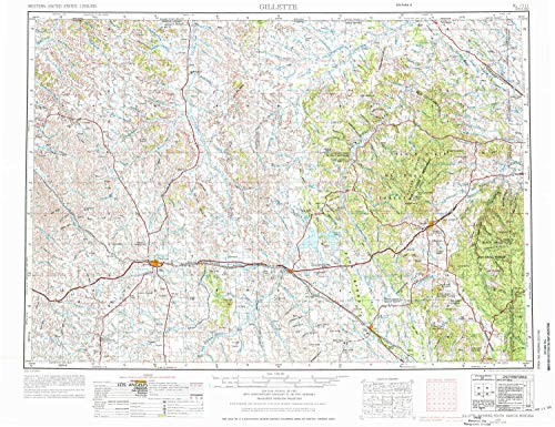 YellowMaps Gillette WY topo map, 1:250000 Scale, 1 X 2 Degree, Historical, 1955, Updated 1976, 21.8 x 28.4 in - Paper