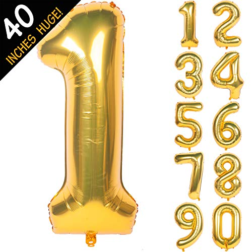 Giant Balloon Numbers (40 Inch Gold Digit Helium Foil Birthday Party Balloons Number)