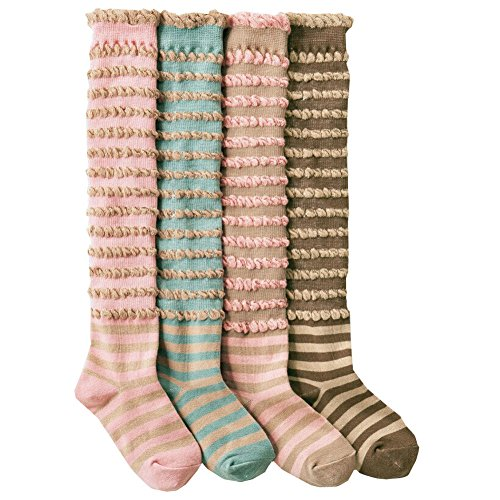 Joyci Fashion 4-packs Girlsa Knee-high Socks Jacquard Weave Cotton High Sock
