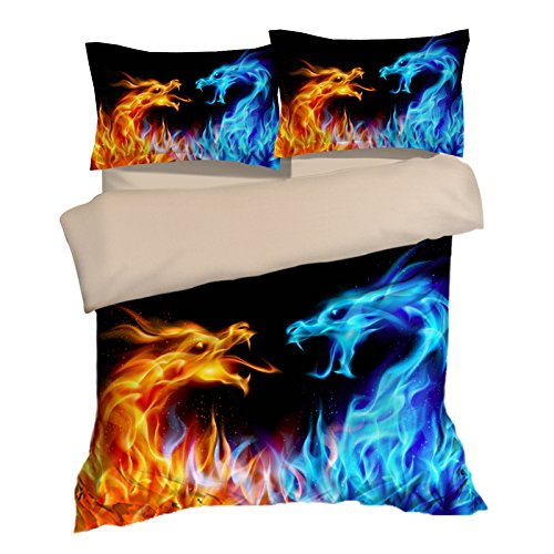 Eye-catching Golden and Blue Dragon Cotton Microfiber 3pc 90''x90'' Bedding Quilt Duvet Cover Sets 2 Pillow Cases Queen Size by DIY Duvetcover