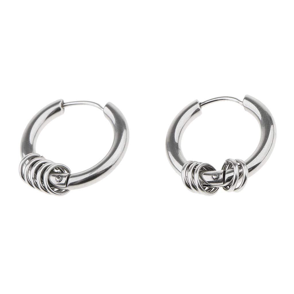 Prettyia Stainless Steel Silver Small Loop Dangle Hoop Huggie Earrings Ear Cuffs