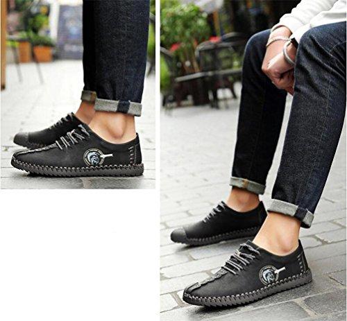 Mocasines de caballero hecha a mano de cuero cómodo bajo de la parte superior Lacu-up suave suelas antideslizante Fácil Match Casual zapatos de ocio UE tamaño 38-44 Black