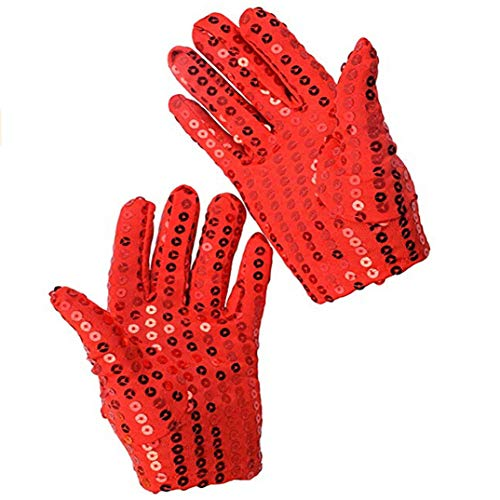 Party Kids Dress Wrist Sequin Costume Dance Joofff Gloves Accessory Sparkle Festival For Red zT8BqYaw
