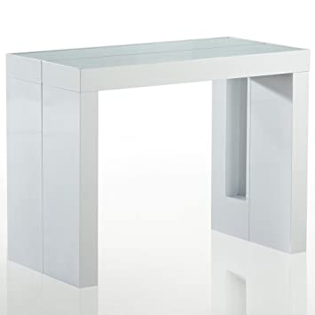 Table Extensible Rallonges Integrees.Console Extensible Rangement Integre 4 Rallonges Blanc Laque