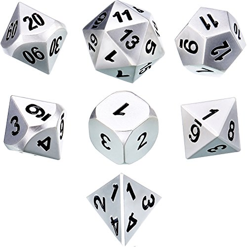 TecUnite Set of 7 Metal Dice Polyhedral 7-Die Dice Set Role Playing Game Dice Set for Dungeons and Dragons, RPG Dice Gaming, D&D, MTG, Math Teaching with Drawstring Pouch (Shiny Silver and Black)