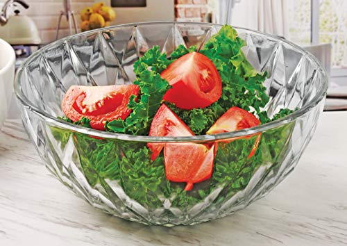 Circleware 57253 Treasure Glass Mixing Bowl Home and Kitchen Serving Fruit Decoration Dish Glassware for Salad, Punch Beverage, Ice Cream, Dessert, Food, Best Selling Gifts, 8.86