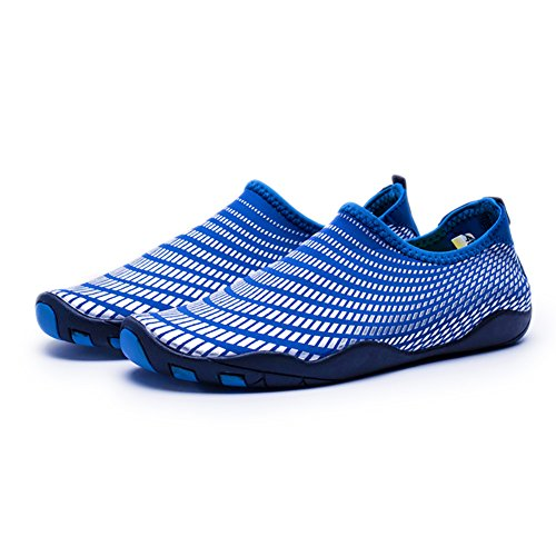 WateLves Wasserschuhe Mens Womens Beach Swim Schuhe Quick-Dry Aqua Socken Pool Schuhe für Surf Yoga Wassergymnastik Silber Blau