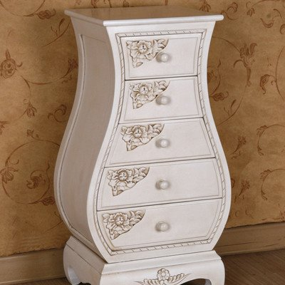 International Caravan 3965-AW-IC Furniture Piece Carved Wood Five Drawer Bombay What Not