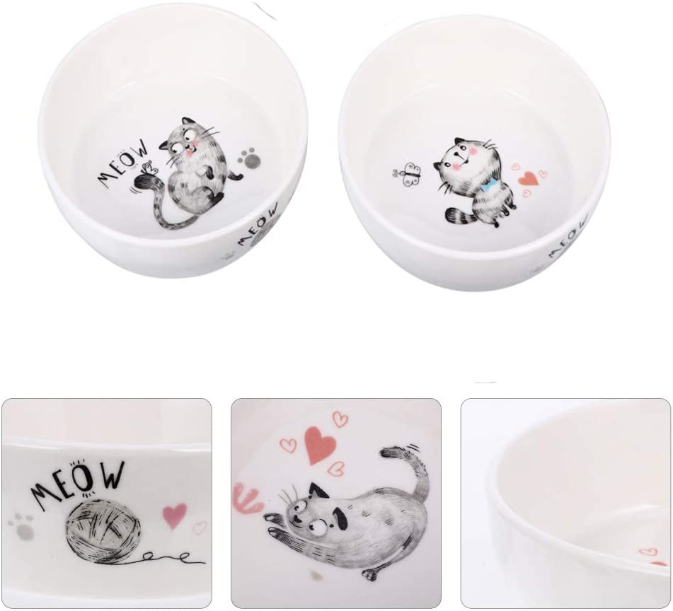 2pcs Ceramic Cat Food and Water Bowls, Non-Skid Dish with Cute Pattern, Pet Bowl for Kitten and Cats, 10 oz, Dishwasher Safe