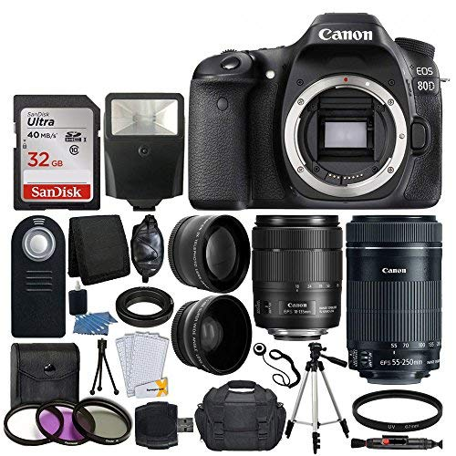 Canon EOS 80D DSLR Camera Body + Canon EF-S 18-135mm f/3.5-5.6 IS USM Lens & Canon EF-S 55-250mm f/4-5.6 IS STM Lens + 67mm 2x Lens + Wide Angle Lens + 32GB Card + UV Filter Kit 58mm + Complete Bundle