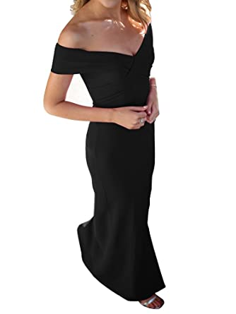 Ashuai Womens Off Shoulder Side Split Slim Evening Maxi Party Dress Prom Dress Evening Gown (