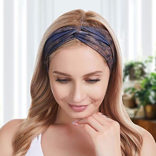 Diademas Mujer Boho Flor Vintage Impreso Criss Cross Anudado Elastico Banda Para Maquillaje Correr Yoga