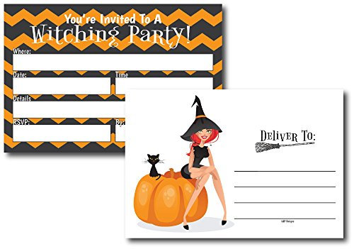 50 Orange & Black Witch Halloween Invitations Postcards for Girl, Boy, Women, and Men, Costume Party, Halloween Party Invitations, Party Decorations, Adults Birthday Halloween Party Invites -