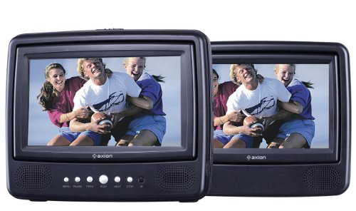 Axion AXN-7979 7-Inch Dual Screen Portable DVD Player, Black