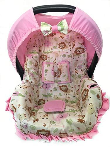 Capa Para Bebe Conforto - Safari Elefante Rosa - Multimarcas Sem Bordado Alan Pierre Baby