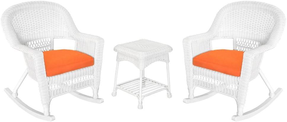 Jeco 3 Piece Rocker Wicker Chair Set With Orange Cushion, White