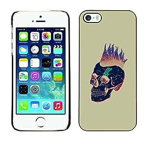Paccase / SLIM PC / Aliminium Casa Carcasa Funda Case Cover - Punk Gold Skull Death Black Hair - Apple Iphone 5 / 5S