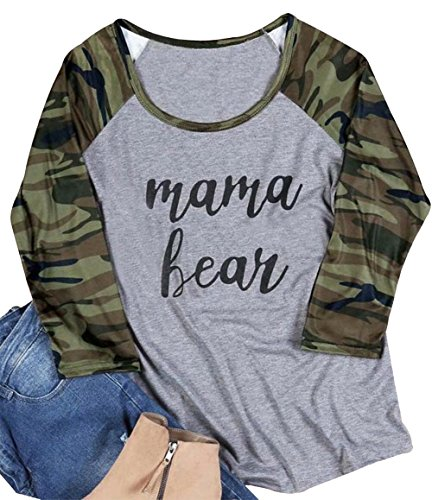 - MAXIMGR Mama Bear T Shirt Women Casual 3/4 Sleeve Camouflage Printed Patchwork Top Tees Size XXL (Gray)