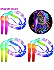 Qeedio 1 Pieza de Cuerda Brillante para Saltar Cuerda Iluminada con 3 Modos de Iluminación Cuerda para Saltar Que Brilla en La Oscuridad Cuerda para Saltar para Niños Adultos (Color Aleatorio)