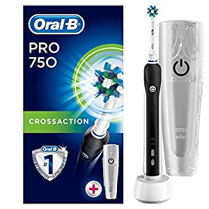 Oral-B Pro 750 CrossAction Cepillo eléctrico recargable, 1 cabezal recambio, funda de viaje de plástico, color blanco… 16
