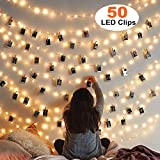 MZD8391 [Upgraded] 50 Photo Clips String Lights/Holder, Indoor Fairy String Lights for Hanging Photos Pictures Christmas Cards, Photo Clip Holder for Bedroom Christmas Decoration