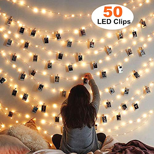 MZD8391 [Upgraded] 50 Photo Clips String Lights/Holder, Indoor Fairy String Lights for Hanging Photos Pictures Christmas Cards, Photo Clip Holder for Bedroom Christmas ()
