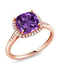 2.05 Ct Cushion Purple Amethyst 10K Rose Gold Ring with Diamond Accent (Available in size 5,6,7,8,9)