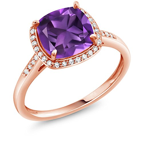 Gem Stone King 2.05 Ct Cushion Purple Amethyst 10K Rose Gold Engagement Ring with Diamond Accent (Size - Cushion Diamond Accent Ring