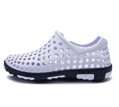 LBSHX Hommes d'été Trou Chaussures Respirant Occasionnels Sandales de Plage Paresseux Anti-Dérapant Wading Chaussures (Couleur : Blanc, Taille : 40)
