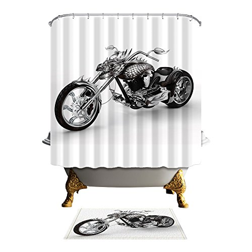 (ChuaMi Modern Element Shower Curtain Set, 18Th-Century Vintage Motorcycle White Theme, Bathroom Fabric 69 x 70 Inches Decor Design with Hooks, Mildew Resistant Waterproof with 40 x 60cm Bath Rug )